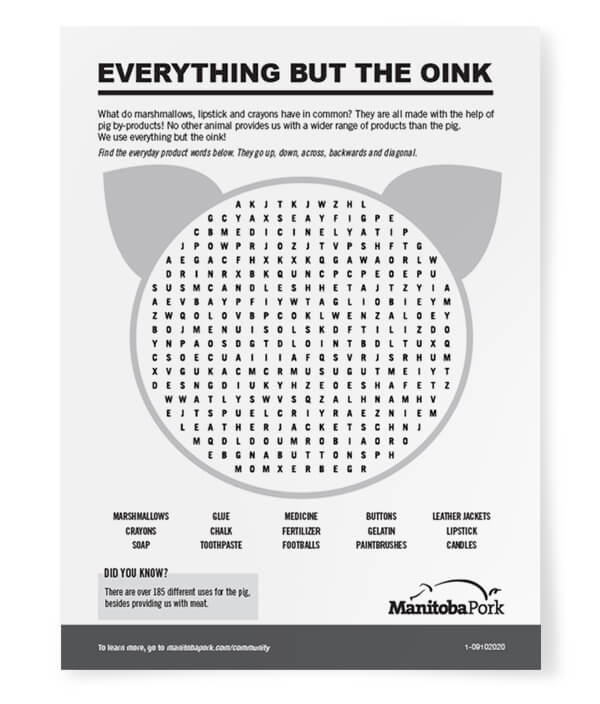 Word Search: Everything but the Oink