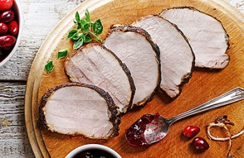 Coffee-Crusted Pork Loin with Cranberry Marmalade