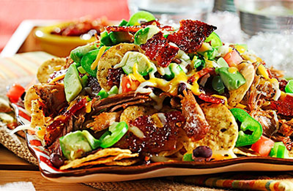 Pulled Pork Nachos Supreme with Tex-Mex Candied Bacon Chips