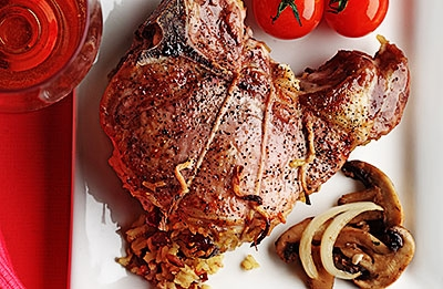 Pork Chops with Curried Rice Stuffing