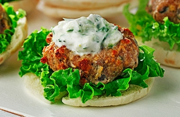 Greek Pork Patties with Tzatziki Sauce