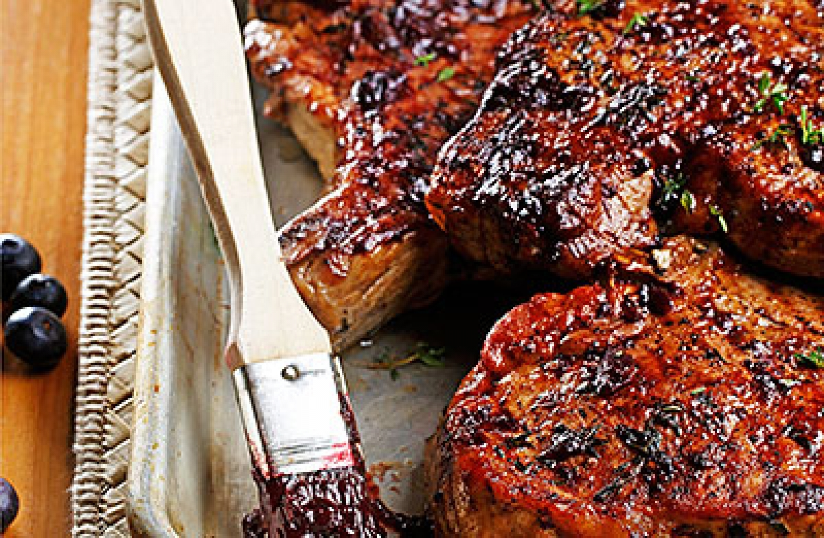 Thyme Grilled Rib Chops with Royal Blueberry BBQ Sauce