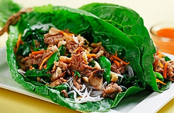 Sweet Chili Pork Lettuce Boats with Kale