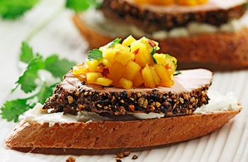Peppered Pork Crostini with Mango Salsa