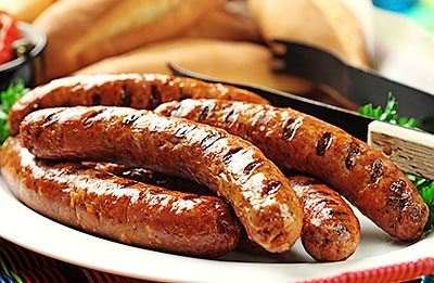 Italian Sausages with Grilled Peppers & Onions