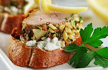 Nut-crusted Pork Tenderloin Crostini