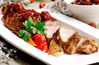 Pork Tenderloin with Cherry Cranberry Glaze