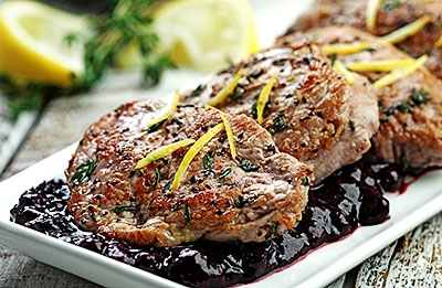 Seared Pork Medallions with Wild Blueberry Pan Sauce