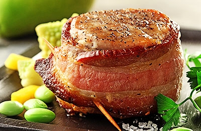 Bacon Wrapped Pork Medallions with Pears