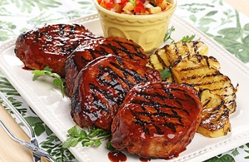 Grilled Chops with Pineapple Rum Glaze & Grilled Pineapple Salsa
