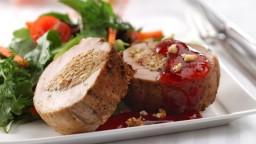 Glazed Pork Tenderloin with Curry Nut Stuffing